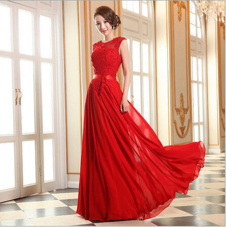 Red Floor-Length Chiffon Long Evening Dress Gown 2015 New Fashion Formal Dresses wedding gown abendkleider rosa spitze 67954