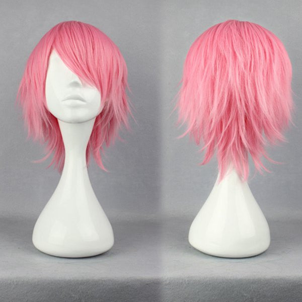 32cm Short Bleach Szayel AporroGranz PINK Anime Cosplay Wig synthetic short wig,Colorful Candy Colored synthetic Hair Extension Hair piece 1pcs WIG-263A