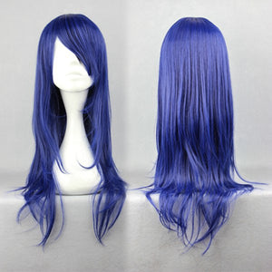 One piece-Nami New Arrival 65cm long straight CLANNAD-Ichinose Kotomi dark blue wig cosplay,Colorful Candy Colored synthetic Hair Extension Hair piece 1pcs WIG-245A