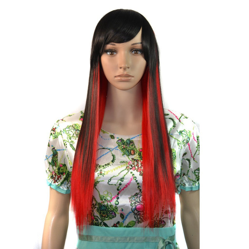 Long Dark Red Cosplay Party Straight Wigs 60cm Fashion Hair Wigs