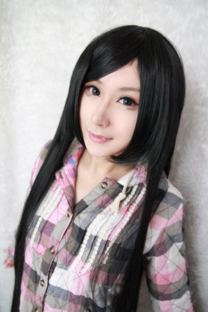 100cm long cosplay anime Sengoku Basara-Akechi Mitsuhide black long wig,Colorful Candy Colored synthetic Hair Extension Hair piece 1pcs WIG-018A