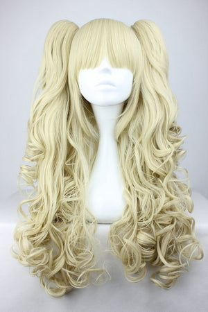 Cosplay anime synthetic blonde wig ponytails,Colorful Candy Colored synthetic Hair Extension Hair piece 1pcs WIG-218A