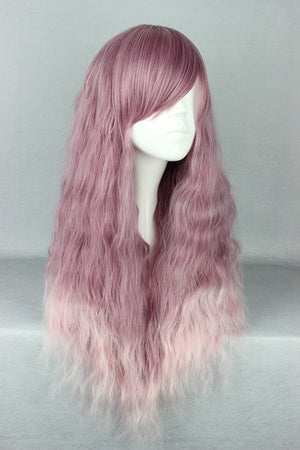Long Curly Synthetic purple Cosplay Wig ,Ombre Colorful Candy Colored synthetic Hair Extension Hair piece 1pcs WIG-468A