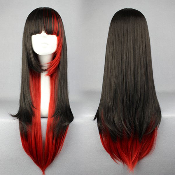 70cm WIG Long Red and Black Beautiful zipper wig Anime Wig,Colorful Candy Colored synthetic Hair Extension Hair piece 1pcs WIG-280A