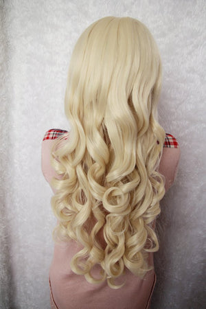 Cosplay custome Touhou Project-Kirisame Marisa High quality curly long golden wig,Colorful Candy Colored synthetic Hair Extension Hair piece 1pcs WIG-021A