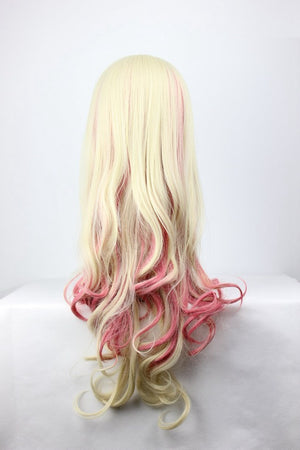 Beautiful Women's Wig 70cm Long Curly multi color Macross Series-Sheryl Nome Anime Cosplay Costume Wig,Colorful Candy Colored synthetic Hair Extension Hair piece 1pcs WIG-215A