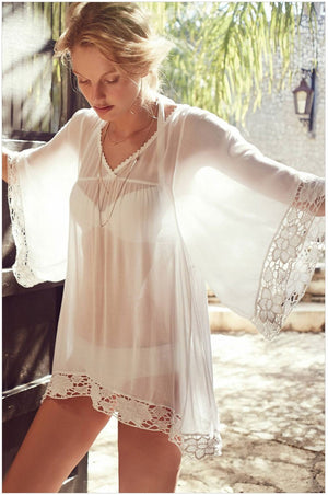 Hotapei White Flower Kimono Lace Kaftan cover up sexy women beachwear bathing suits 2015 summer style swimsuit swimwear-LC41138