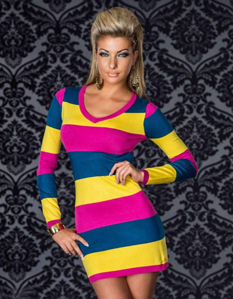 Supply Long Sleeve V-neck Bodycon Dress Contrast Color Sexy Striped Bandage Dress Women Casual Wear Dresses N095 Yellow-Hot Pink