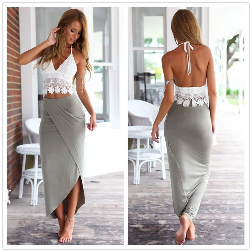 33f352eca6 Crop top pencil skirt set summer grey boho maxi long skirt ladies high –  lovesboutiques