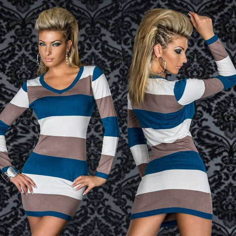 Supply Long Sleeve V-neck Bodycon Dress Contrast Color Sexy Striped Bandage Dress Women Casual Wear Dresses N095 Gray-Blue