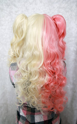 Hot Selling Cartoon Figure Curly Mixed Color Sexy Women Anime Two Ponytails Heat Resistant Synthetic Cosplay Wigs,Colorful Candy Colored synthetic Hair Extension Hair piece 1pcs WIG-222A