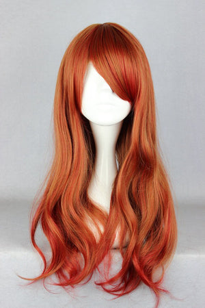 Promotion Copper Red Ombre 65cm Long Loose Weave Cute Cosplay Wig,Colorful Candy Colored synthetic Hair Extension Hair piece 1pcs WIG-362A
