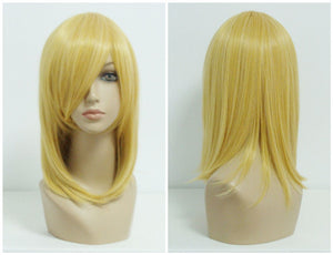 Promotion Light Golden High Grade 45cm Medium Straight Yellow Synthetic Anime Cosplay Wig,Colorful Candy Colored synthetic Hair Extension Hair piece 1pcs WIG-197A