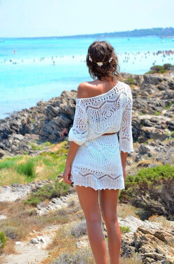 Fashion Women Sexy Bikini Beach Cover Up Mini Dress Hollow Crochet Out White Lace Beach Dresses With Belt branco vestido Wear Cangas De Praia