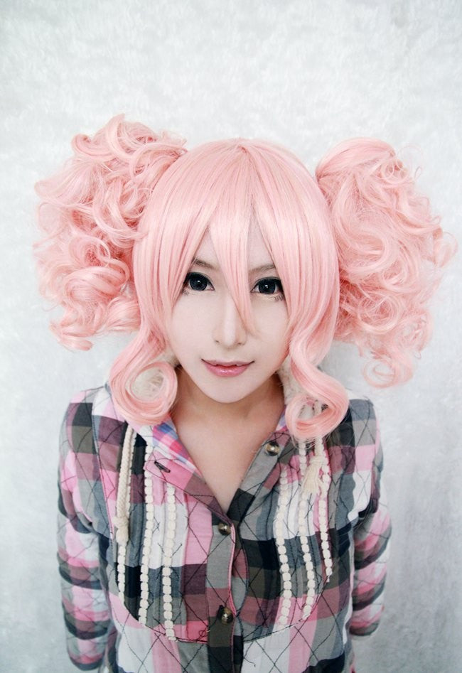 35cm Short Pink Cute Girls Wig ,Colorful Candy Colored synthetic Hair Extension Hair piece 1pcs WIG-301D