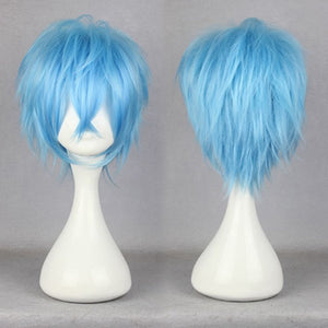 Sexy Design 32CM Long Short Light Blue male wig anime karneval-KAROKU Elastic Wig Cap Cosplay Wig,Colorful Candy Colored synthetic Hair Extension Hair piece 1pcs WIG-339C