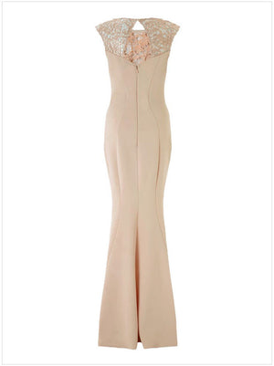 Sleeveless Apricot Sheer Lace Insert Mermaid Long Maxi Party Dress M L Female Jurk Robe Longue Femme 60112