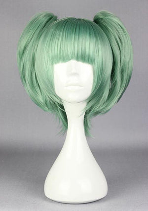 Assassination Classroom-Kayano Kaede green cosplay costume wig with 2 ponytails factory price 30cm short dark green cosplay wigs,Colorful Candy Colored synthetic Hair Extension Hair piece 1pcs WIG-575C
