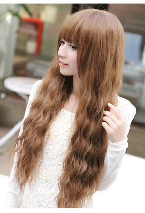 Korean fashion Women's Synthetic Black wig little curly hair long wigs JF009
