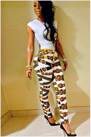 Sidefeel Sleeveless White T-shirt Matching Print Pants sexy women summer style party clubwear new 2015 femininos 60141