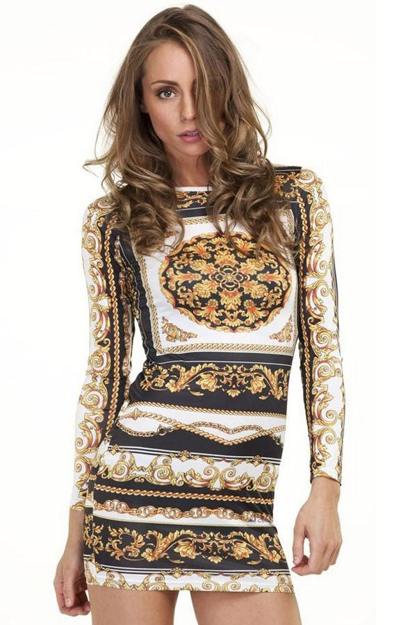 New fashion 2015 Women Dresses Casual Vestido Vintage Long Sleeve Retro Print Mini Dress short Woman Clothes 22035