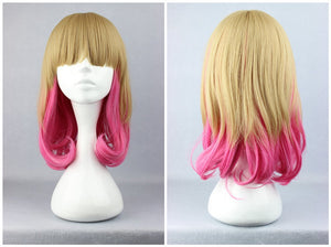 Promotion Blonde Pink Color Mixed 45cm Medium Deep Curly Synthetic Virgin Hair Wig,Colorful Candy Colored synthetic Hair Extension Hair piece 1pcs WIG-272A