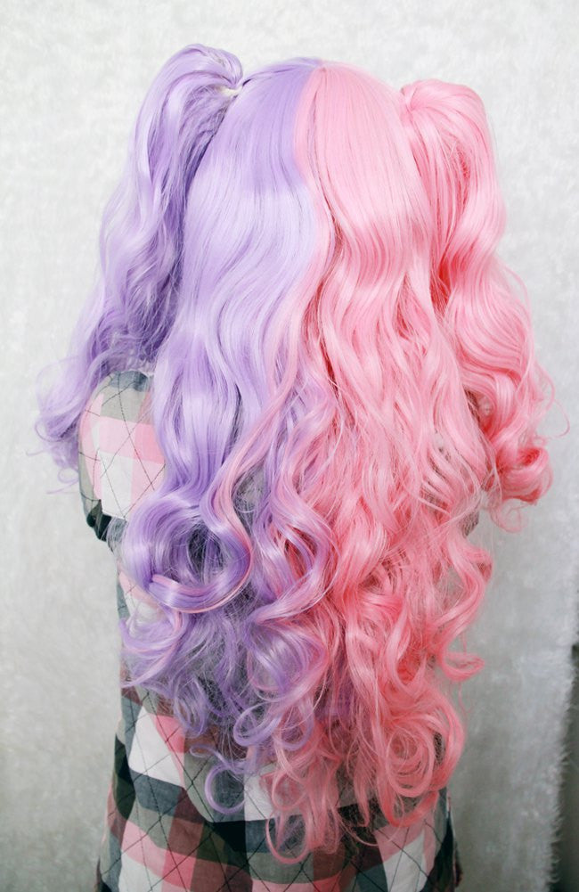 Cotton Candy Wig 70cm60cm Long Pink And Purple Cosplay Wig Mixed