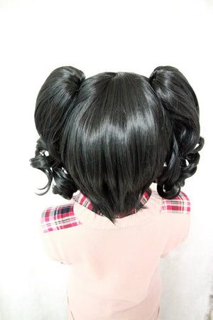 Sexy Women Long Curly Black Sweet Cute Fashion Anime Two Pigtails Heat Resistant Synthetic Cosplay Wigs,Colorful Candy Colored synthetic Hair Extension Hair piece 1pcs WIG-079A
