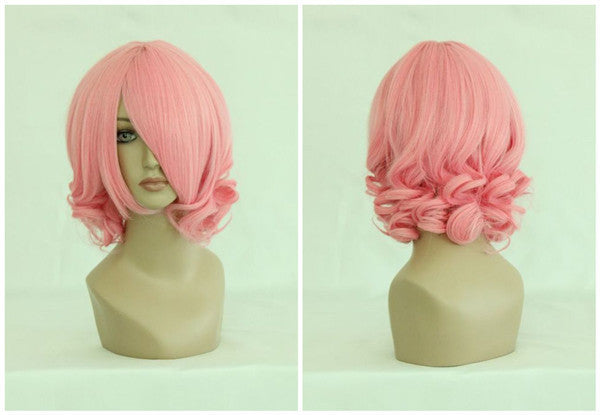 Cute 30cm Short Curly Pink Touhou Project Saigyouzi Yuyuko Halloween Cosplay Wig,Colorful Candy Colored synthetic Hair Extension Hair piece 1pcs WIG-019A