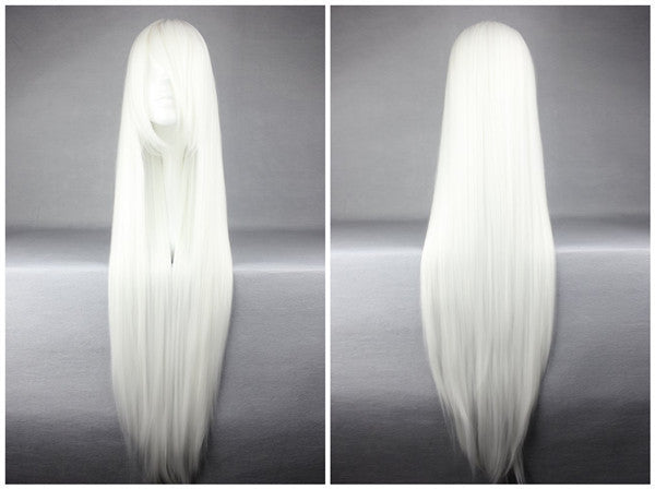 Fashion Anime Touhou Project Fujiwara no Mokou 100cm 40 Inches Long Straight White Carnival Wig,Colorful Candy Colored synthetic Hair Extension Hair piece 1pcs WIG-018G