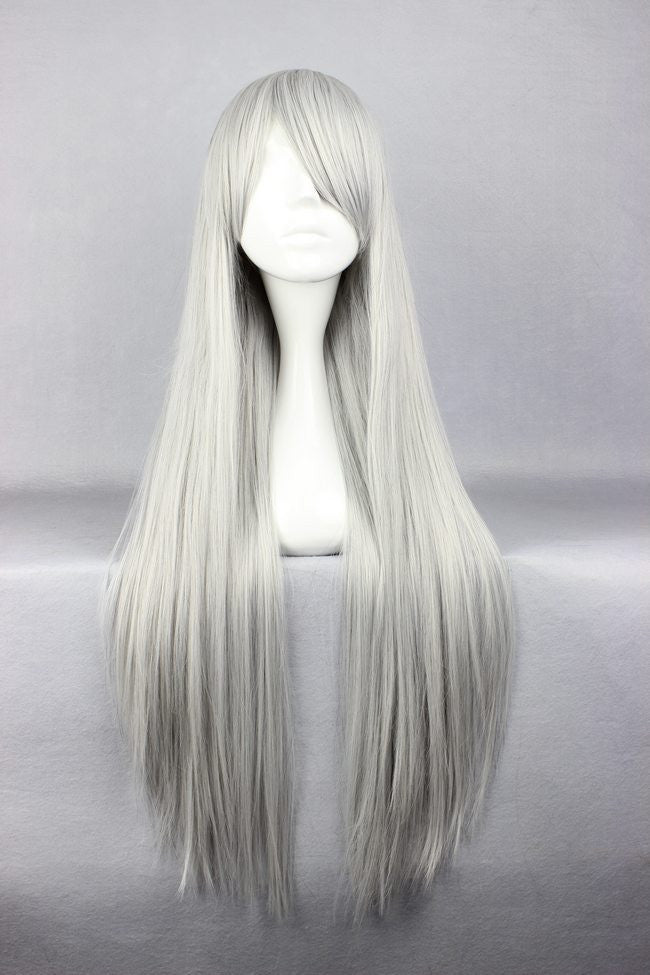 Hot 80cm Anime Cosplay Hitman Reborn-Superbia Squalo Synthetic Long Grey Wig,Colorful Candy Colored synthetic Hair Extension Hair piece 1pcs WIG-001G