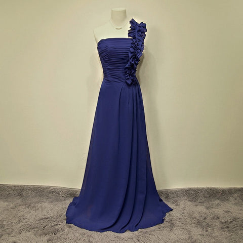 100% Real Sample Long Evening Dresses 2015 Fashionable One Shoulder Party Dresses Royal Blue Chiffon Vestido De Festa Hot Sale CY-019 73531