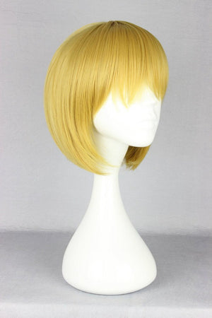 Synthetic Attack on Titan Armin Arlart 30cm Short Golden Yellow Virgin Cosplay Wig,Colorful Candy Colored synthetic Hair Extension Hair piece 1pcs WIG-365E