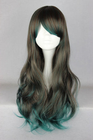 Synthetic 68cm Long Wavy Color Mixed Green Ombre Wig,Colorful Candy Colored synthetic Hair Extension Hair piece 1pcs WIG-356A