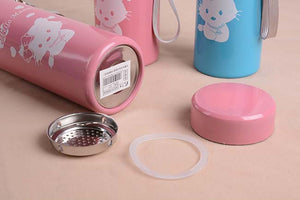 2015 hot high quality fashion cartoon student thermos/seamless double garrafa termica/stainless steel leak-proof seal thermo mug
