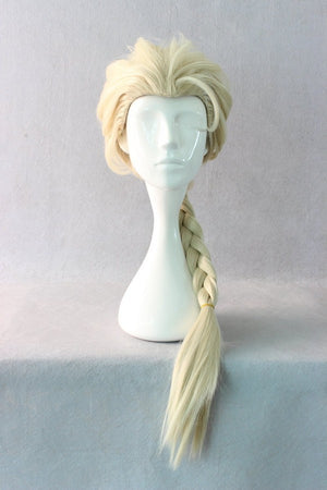 New Classical Light Yellow Blonde 80cm Long Cosplay Anime Frozen Elsa Wig,Colorful Candy Colored synthetic Hair Extension Hair piece 1pcs WIG-016B