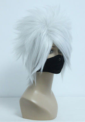 Fashion Naruto Hatake Kakashi Silvery Grey 35cm Short Male Anime Synthetic Wig,Colorful Candy Colored synthetic Hair Extension Hair piece 1pcs WIG-205A