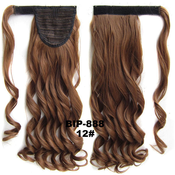 Ponytail Hair Extension Heat Proof Synthetic Wrap Around Invisable Long wavy Velcro Ponytail Hair Extension Clip In on Hair Pony Tail,Wig Hairpiece,woman wigs,wig hairs,Bath & Beauty,Accessories BIP-888 12#