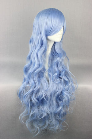 Hot Long Manga Cosplay DATE A LIVE Yoshino Cosplay Wig Blue Curly hair,New Highlight Ombre Colorful Candy Colored synthetic Hair Extension Hair piece WIG-556A