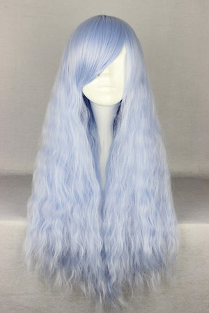 "70cm 27"" Long Curly Wavy Blue Wig Cosplay Party Women Beautiful Wig,Colorful Candy Colored synthetic Hair Extension Hair piece 1pcs WIG-434A"