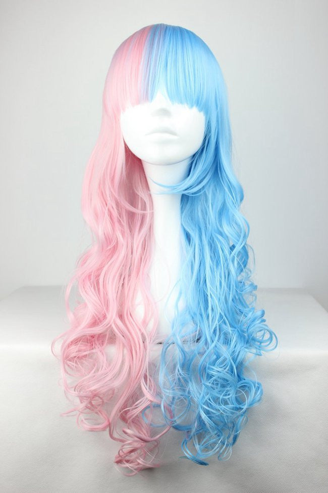 Cotton candy wig 70cm60cm long pink and blue mixed kawaill lolita cotton candy wig 70cm60cm long pink and blue mixed kawaill lolita fashion beautiful wig cosplay anime wigcolorful candy colored synthetic hair extension pmusecretfo Images