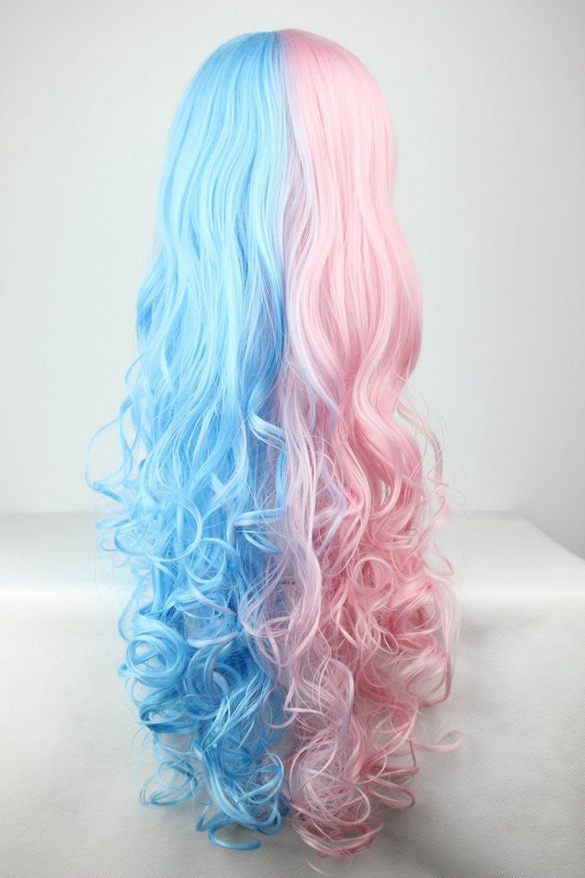 Cotton Candy Wig 70cm60cm Long Pink And Blue Mixed Kawaill Lolita