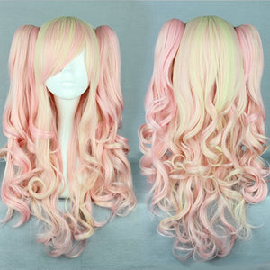 New Pink Mixed Wig Pretty Wig Gothic Pink Wig Ponytails Princess Cosplay Long Wavy Party Wig,Colorful Candy Colored synthetic Hair Extension Hair piece 1pcs WIG-385A
