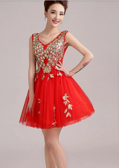 2015 new spring short bride Red V collar shoulders Tutu diamond summer Party Evening dress Bridesmaid Dresses 451245