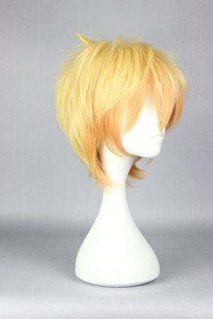Cute High Earth Defense Club Love!Yumoto Hakone Transforms yellow Short cosplay custome wig,Colorful Candy Colored synthetic Hair Extension Hair piece 1pcs WIG-578A