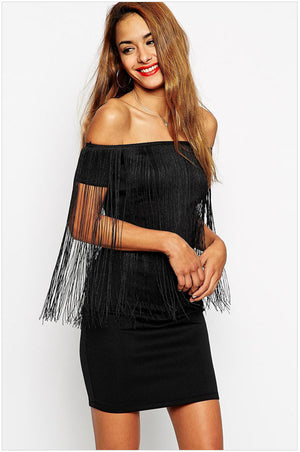 Sale Robe Ete 2015 Vestido Casual Dresses Ladies Summer Black Sexy Slash Neck Off-shoulder Fringe Mini Dress Club Wear LC22097