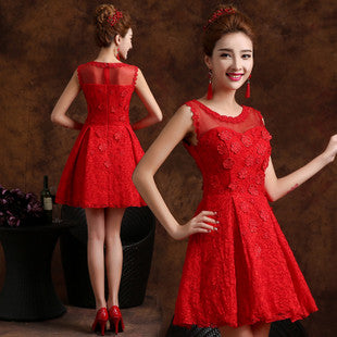 Annual fall/winter evening dress bride and the new 2015 short Red bridesmaid dresses female sisters dress engagement SK2028 1924745