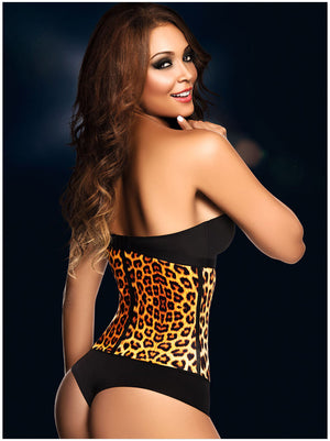 Sidefeel Yellow Leopard Print 9 Steel Bones Latex Waist Trainer sexy women club wear 2015 gothic steampunk corselet bustier 5381
