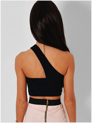 Black Assymetric Cage Cut Out Crop Top short women fashion summer style sexy clothing free shipping 25526