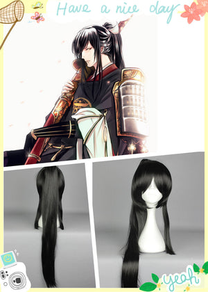 TaroTachi Beautiful WIG 90CM/35.4Inch Kanda Excellent + Asura Lengthened Single Ponytail Costume Straight Black Cosplay Wigs,Colorful Candy Colored synthetic Hair Extension Hair piece 1pcs WIG-579H